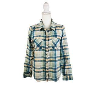 Melrose And Market Sz L Green Textured Plaid Shirt